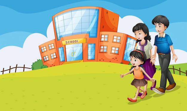 Famille visitant l'école Vecteur gratuit