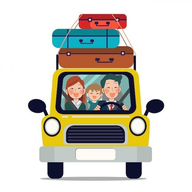 Famille en voiture pour aller voyager Vecteur Premium