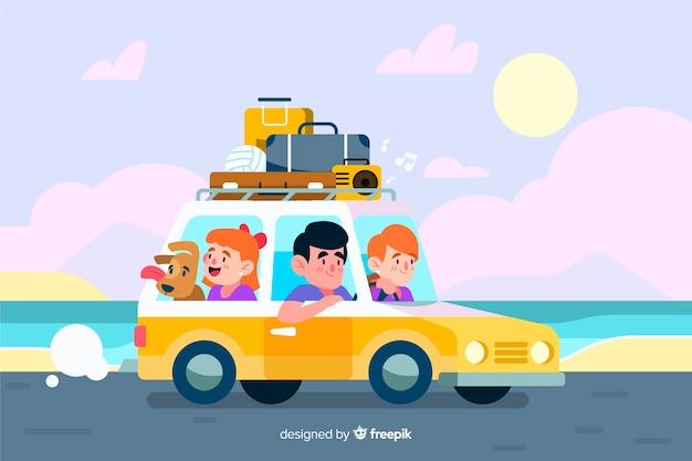 Famille voyageant en voiture à côté de la mer Vecteur gratuit