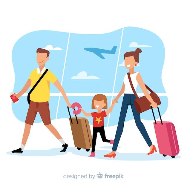 Famille voyageant Vecteur gratuit