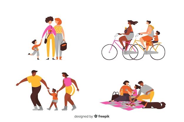 Familles dessinées à la main faisant des activités en extérieur Vecteur gratuit