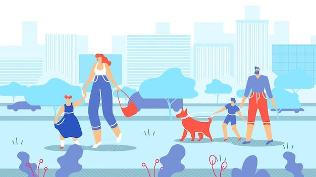 Familles avec enfants et animaux se promenant en ville. Vecteur Premium