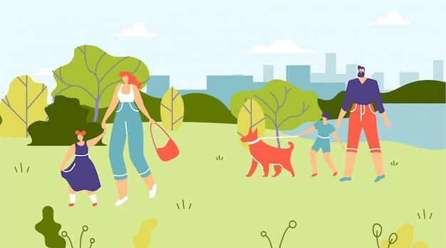 Familles avec enfants et chiens marchant dans le parc. Vecteur Premium