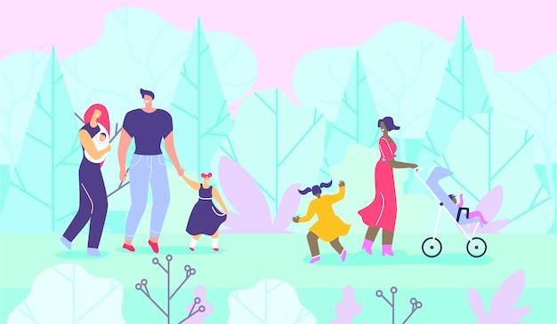 Familles heureuses avec enfants marchant dans la forêt Vecteur Premium