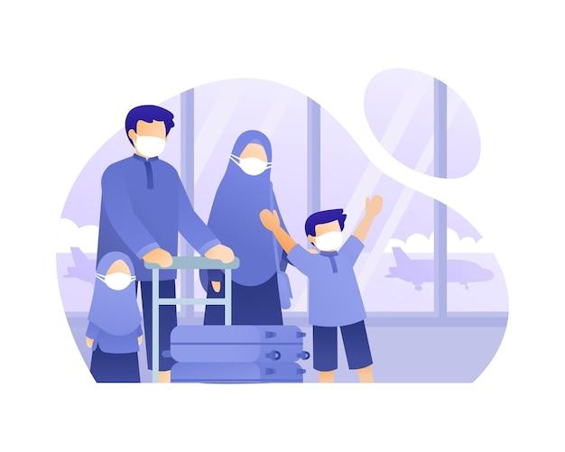 Familles Musulmanes Voyageant En Avion Illustration Vecteur Premium