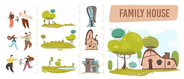 Family House, Happy People Et Nature Craft Set Vecteur Premium