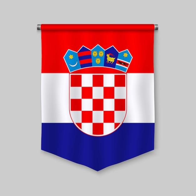 Fanion réaliste 3d avec le drapeau de la croatie Vecteur Premium