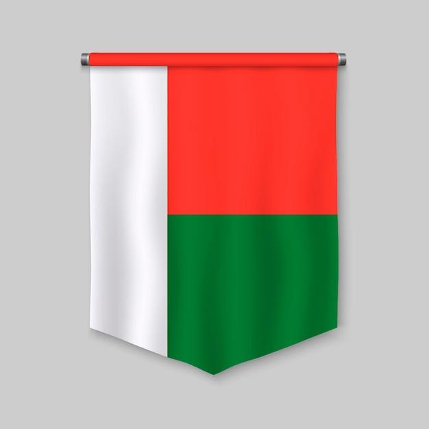 Fanion réaliste 3d avec le drapeau de madagascar Vecteur Premium