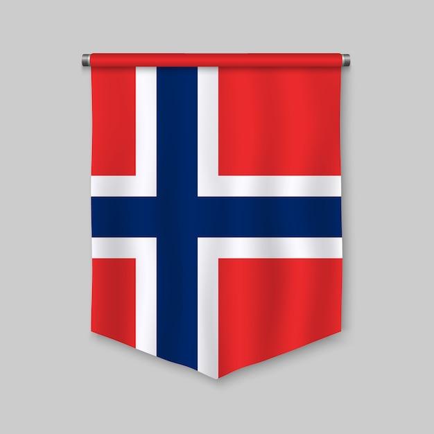 Fanion réaliste 3d avec le drapeau de la norvège Vecteur Premium