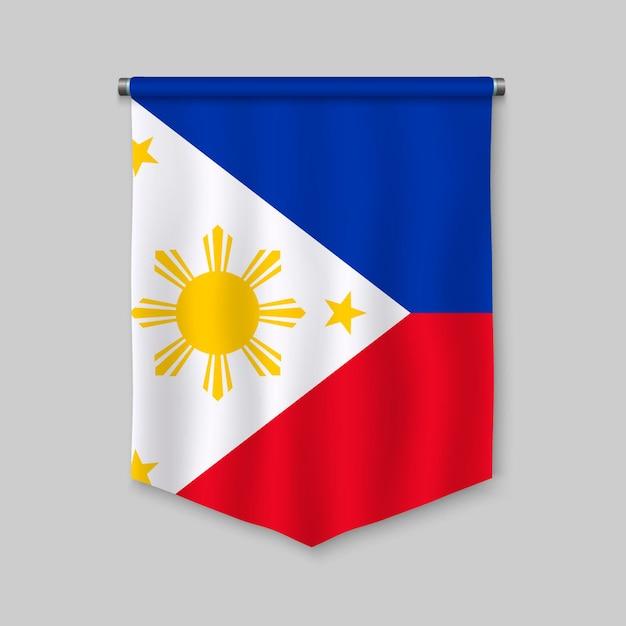 Fanion réaliste 3d avec le drapeau des philippines Vecteur Premium