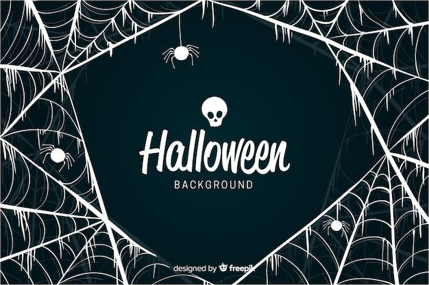 Fantaisie toile d'araignée design fond d'halloween Vecteur gratuit