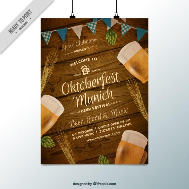 Fantastique affiche avec un fond de bois pour oktoberfest Vecteur gratuit