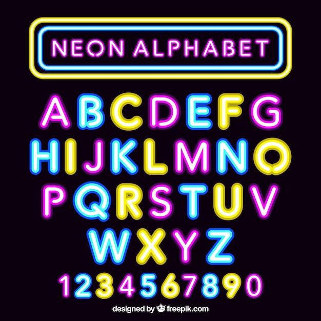 Fantastique alphabet néon Vecteur gratuit