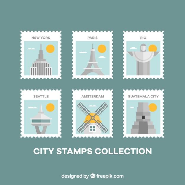 Fantastiques timbres de villes avec détails en jaune Vecteur gratuit