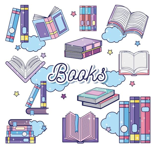 Fantasy et livres magiques Vecteur Premium
