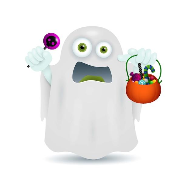 Fantôme avec bol de bonbons Vecteur gratuit