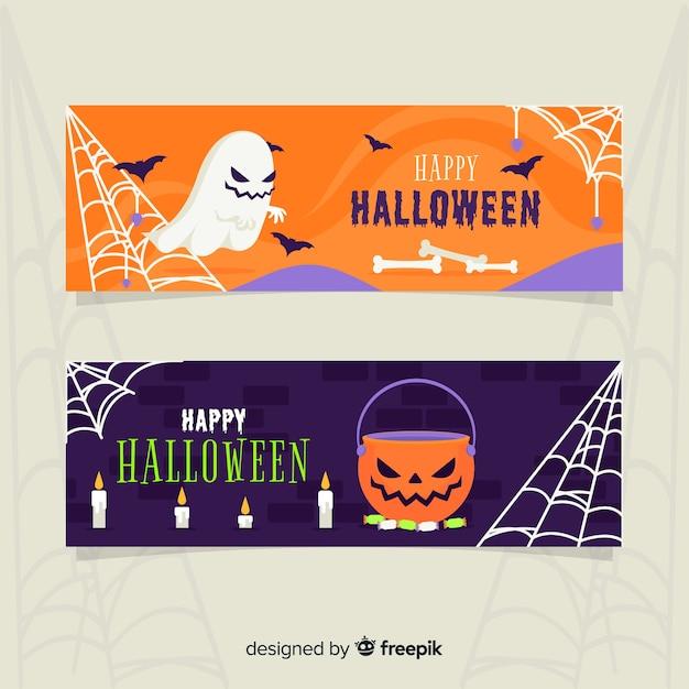 Fantôme et citrouille bannières halloween plat Vecteur gratuit