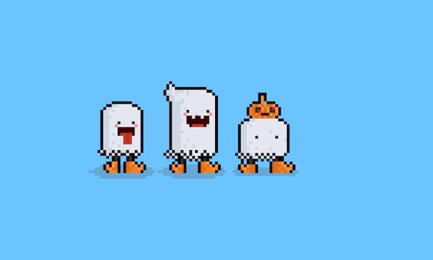 Fantôme De Dessin Animé De Pixel Art Avec Jambes 8 Bits