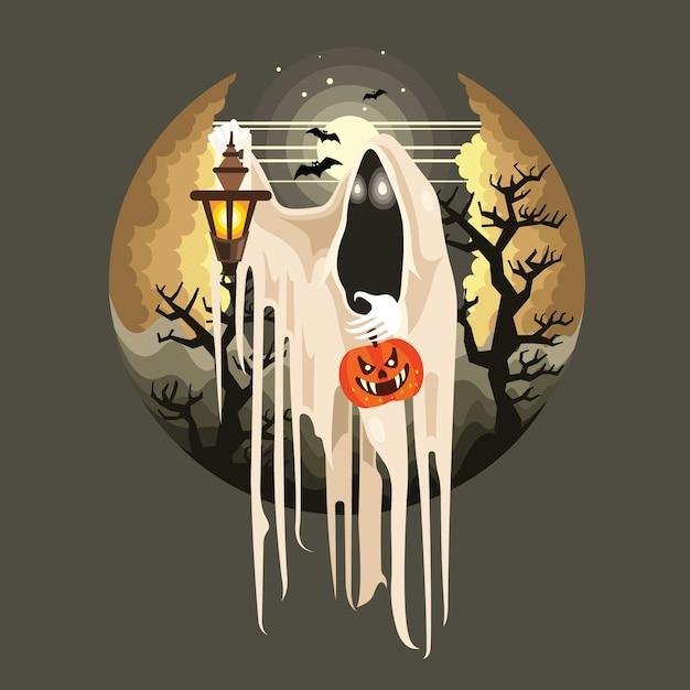 Fantôme d'halloween avec personnage de lanterne Vecteur Premium