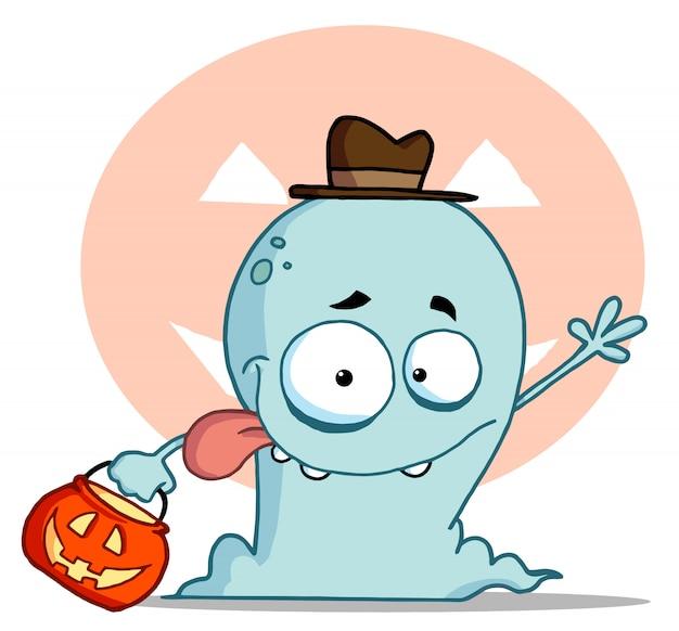 Un fantôme heureux se trompe ou se soigne Vecteur Premium