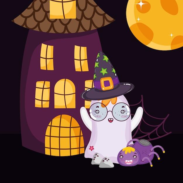 Fantôme avec lunettes et chapeau halloween Vecteur Premium
