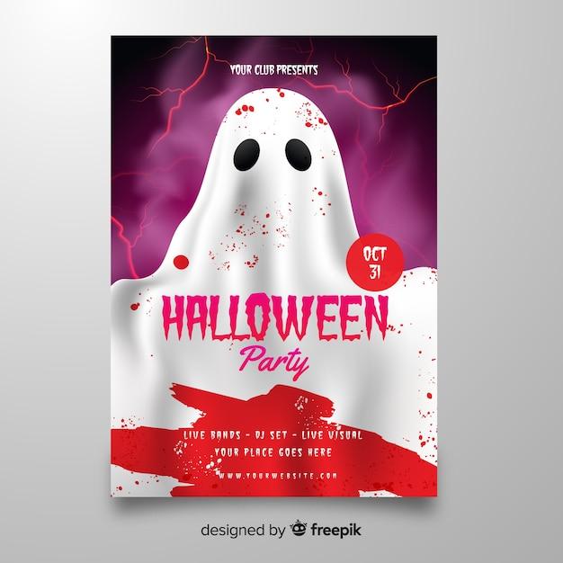 Fantôme avec le modèle d'affiche halloween sang Vecteur gratuit
