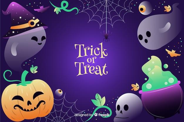 Fantômes et éléments de halloween dégradés de sorcellerie Vecteur gratuit