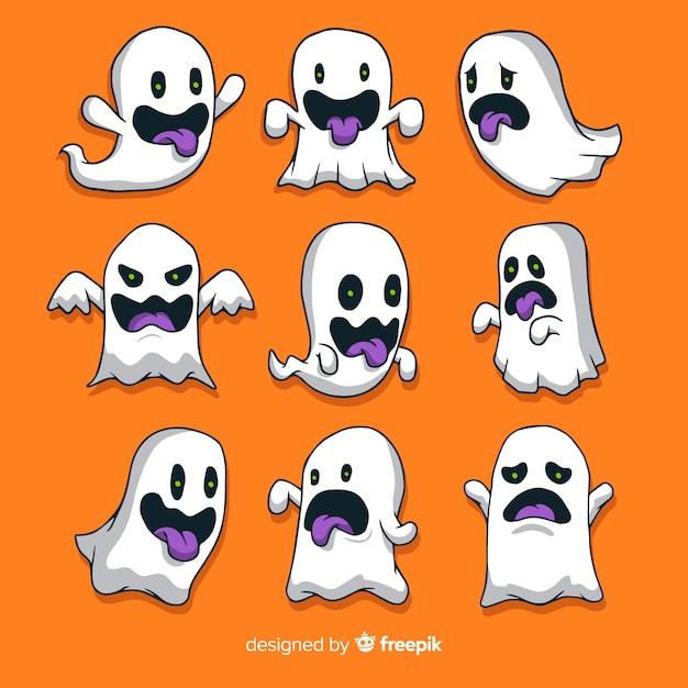 Fantômes d'halloween dessinés à la main faisant la collection de visages Vecteur gratuit