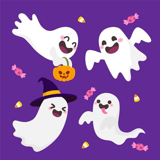 Fantômes D'halloween Dessinés à La Main Vecteur gratuit
