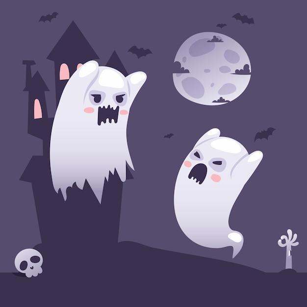 Fantômes D'halloween à L'extérieur D'un Vieux Château Hanté Au Style Cartoon De Nuit Vecteur Premium