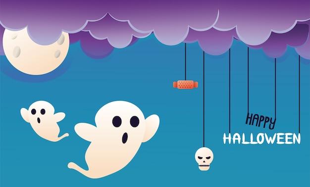 Fantômes D'halloween Avec Nuages Et Scène De Lune Vecteur Premium