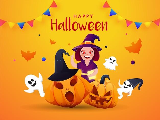 Fantômes De Sorcières, Chauves-souris Et Drapeaux De Banderoles Fantasmagoriques Pour La Célébration D'halloween Vecteur Premium