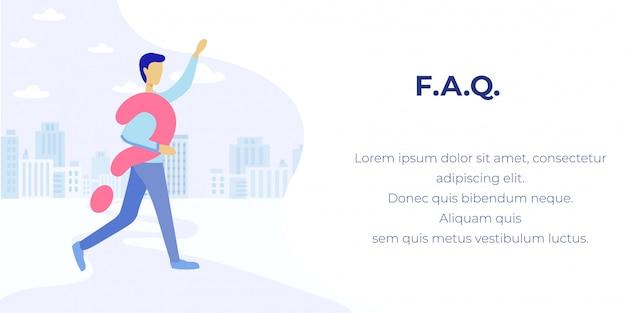 Faq sur les bannières publicitaires application de service en ligne Vecteur Premium