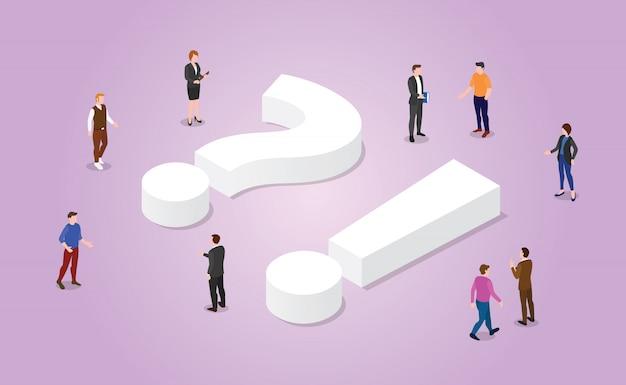 Faq questions fréquemment posées avec des membres de l'équipe et symbole de signe avec un style isométrique moderne Vecteur Premium