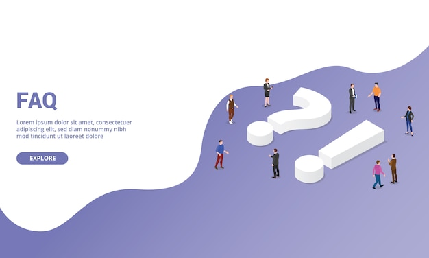 Faq questions fréquemment posées sur les modèles de site web page d'accueil ou bannière de style isométrique Vecteur Premium