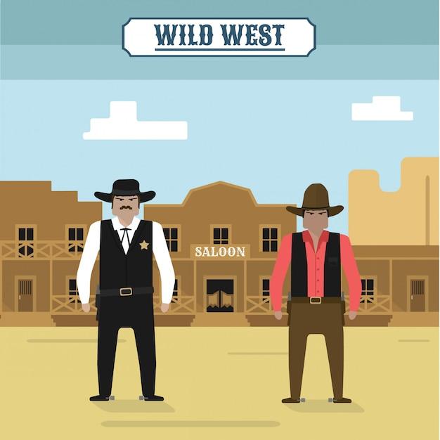 Far west Vecteur Premium