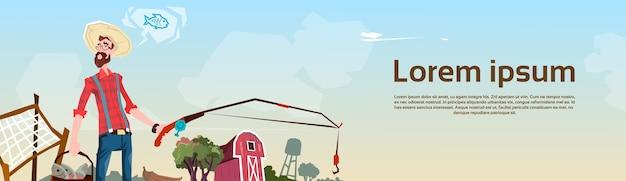 Farmer fishing farmland fond plat vector illustration Vecteur Premium