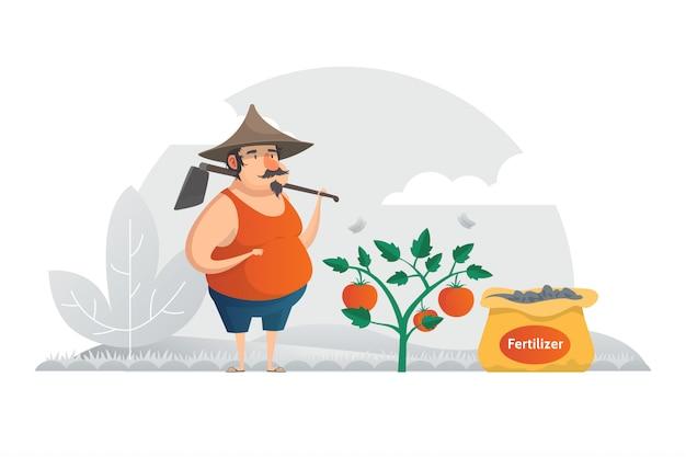 Farmer illustration concept Vecteur Premium