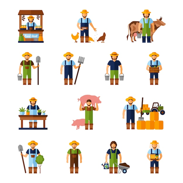 Farmers icons set Vecteur gratuit
