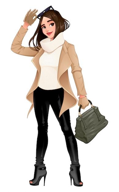 Fashion girl posant avec des lunettes de soleil dans ses mains Vecteur Premium