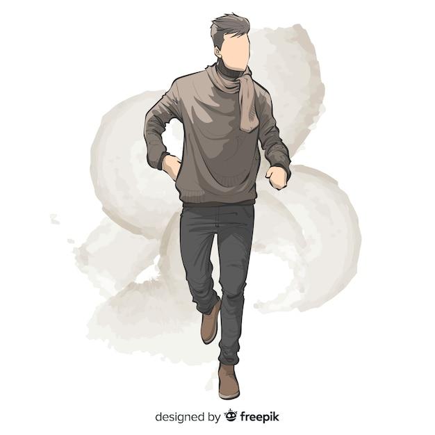 Fashion illustration design dessiné à la main Vecteur gratuit
