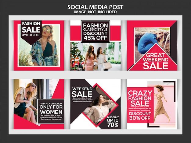 Fashion instagram post histoires Vecteur Premium