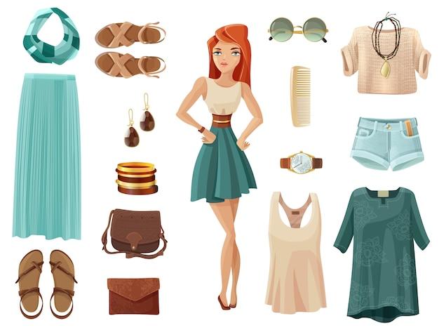 Fashion woman set Vecteur gratuit