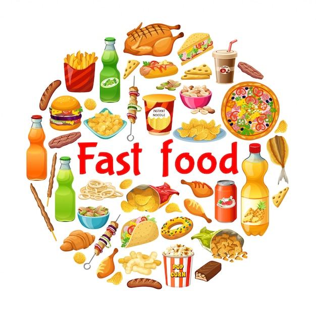 Fast food. affiche. Vecteur Premium