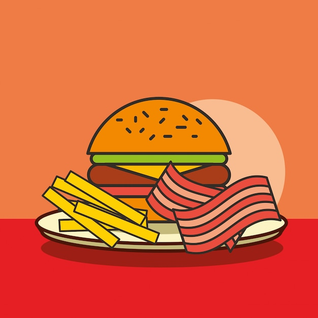 Fast Food Burger Frites Et Bacon Vecteur Premium