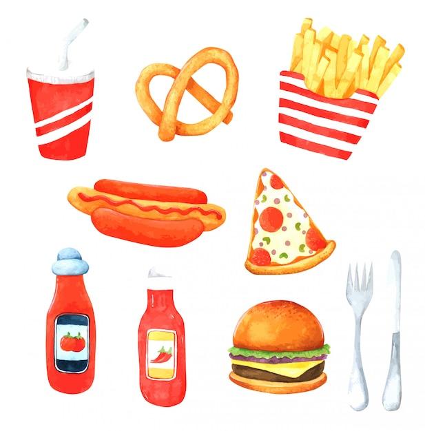 Fast food élément aquarelle dessiné à la main pour la conception Vecteur Premium