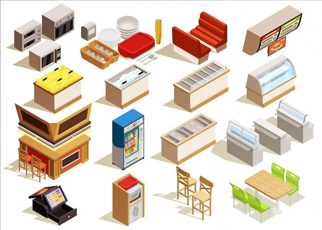 Fast food furniture set Vecteur gratuit