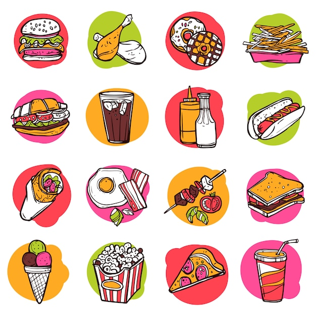 Fast food icon set Vecteur gratuit