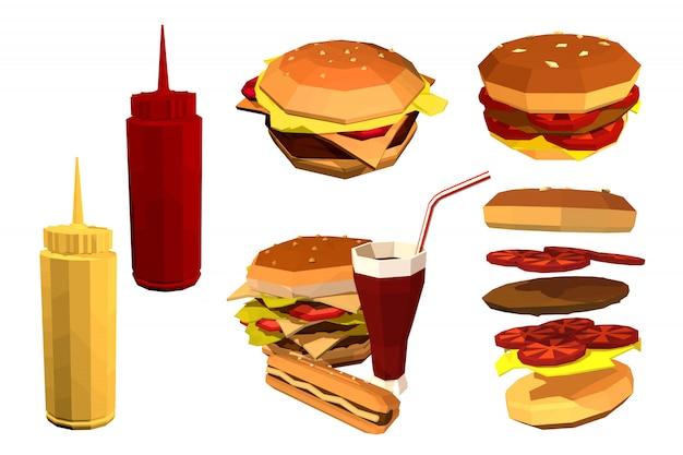 Fast food low poly sur un blanc. Vecteur Premium