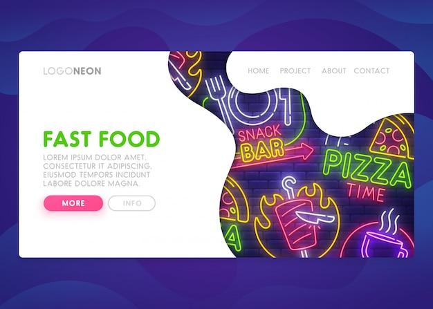 Fast Food - Page De Destination Vecteur Premium